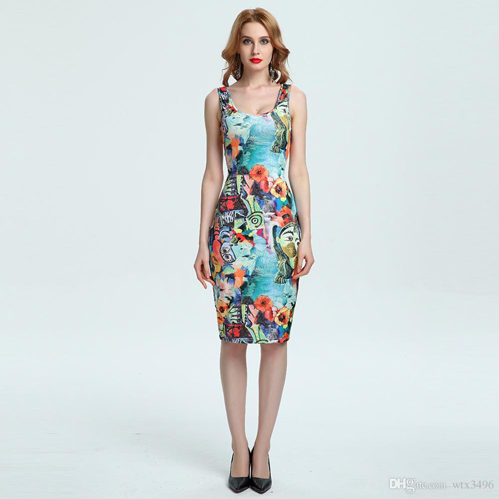 Sexy Floral Print Bandage Dress Summer Plus Size Bodycon Printed ... 5990a5fe712c
