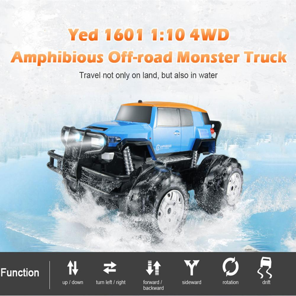 Dirt Bike Yed 1601 1:10 4WD All-terrain Amphibious Remote Control Off-road  Monster Truck 12km/h Speed RC Car Toys for Children