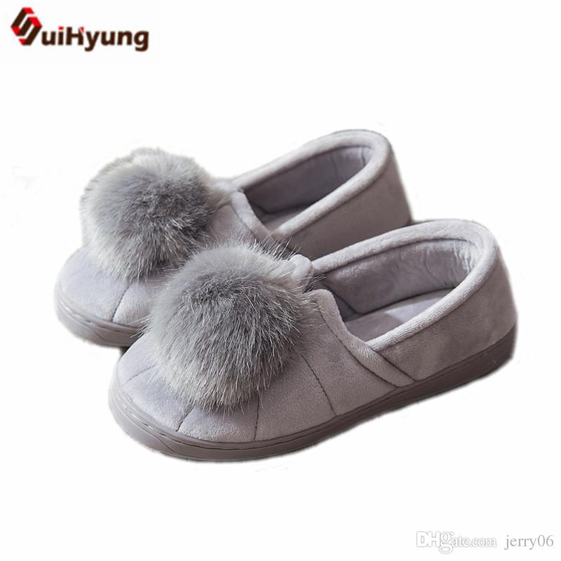 c3fb8479184 Winter Women S Thermal Indoor Shoes At Home Slippers Big Hairball Soft  Bottom Floor Slippers Female Cotton Padded Shoes Desert Boots Mens Slippers  From ...