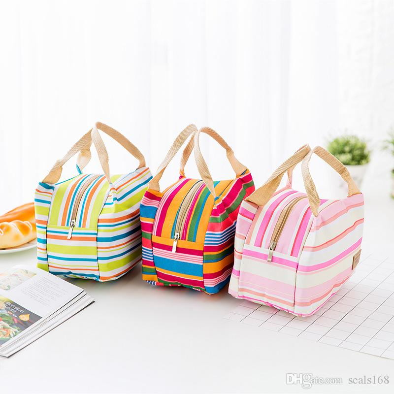 قدرة كبيرة حقيبة الغداء حمل حقيبة الغداء المنظم مقبض العزل الباردة نزهة الغذاء تخزين مربع قماش مربع الحرارية يمكن جعل fba HH7-459