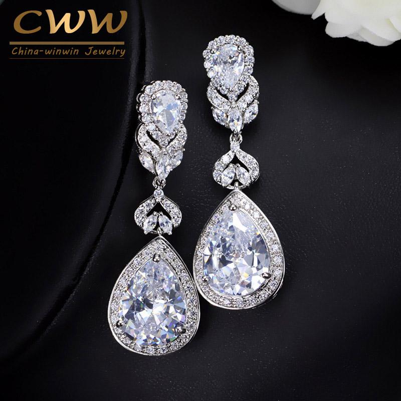 2059012d8 2019 CWWZircons Elegant Water Drop Shaped Cubic Zirconia Crystal Bridal Long  Earrings Luxury Wedding Jewelry For Brides CZ166 From Yanzhoucheng, ...