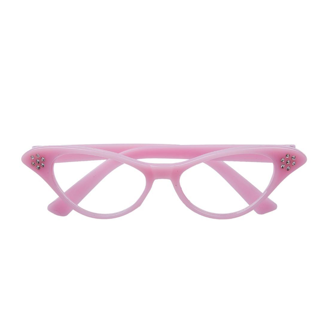 Hot Pink 50\'s Grease Ladies Rock And Roll Fancy Dress Glasses ...