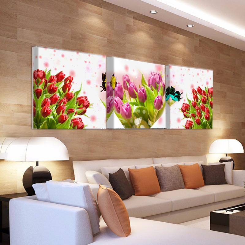 Satın Al Modern Baskı Lale çiçek Tuval Boyama çiçekler Lale Boyama