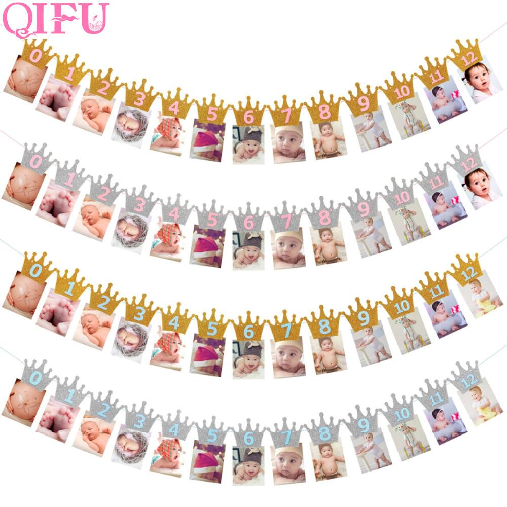 QIFU 1st Birthday Party Decorations Kids Favors First Birthday Banner Flag ONE Year Bunting Garland Baby Shower Decor Boy Girl