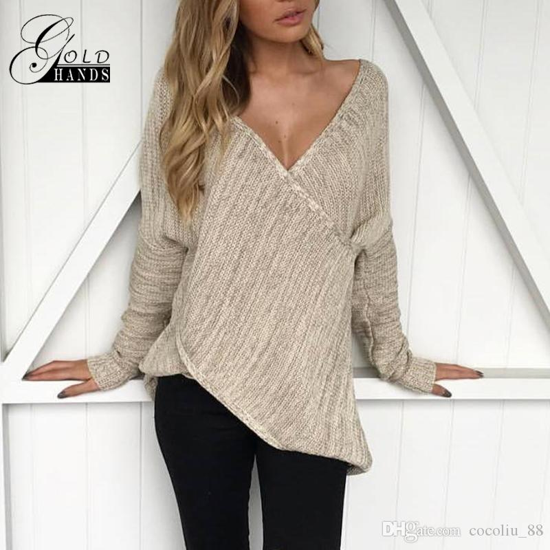79c82a1123 Sexy Women Knitted Sweater Cross Deep V Neck Long Sleeve Basic Jumper Top  Solid Loose Pullover Casual Solid Sweaters Knitwear Women Knitted Sweater  Women ...