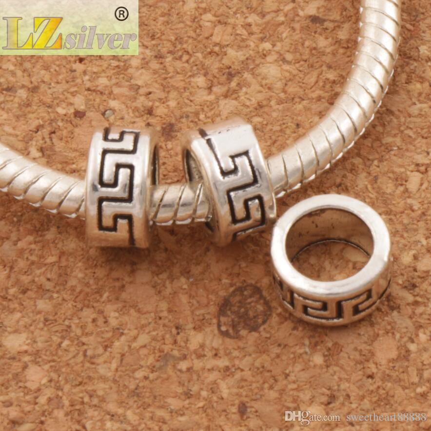 / geometri circle spacers big hole pärlor 8x8x4.2mm antik silver passform europeisk charm armband smycken diy l1352 lzsilver