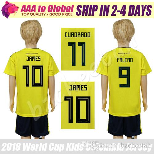 36e240b9ede Kids Colombia Jersey 2018 World Cup Child Colombia Soccer Kit 18 19 ...