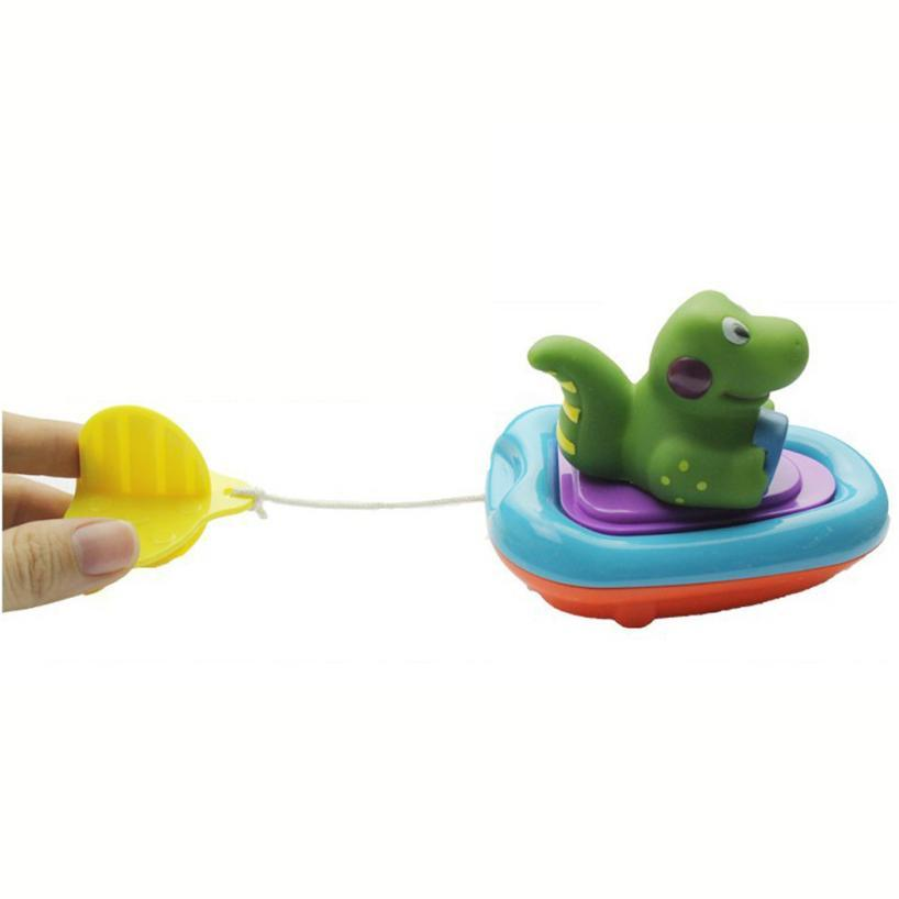 Baby Gift Bathing Boat Animal Toys Infant Kids Children Swimming Pool Pull Toy L224