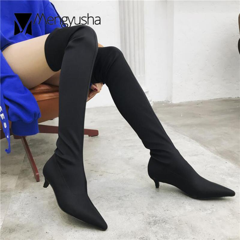 3d36f379fbe0 European Superstar Stretch Socks Long Boots Brand Celebrity Cat Heels Thigh  High Booties Women Over Knee Slim Botas Shoes Hot Shoe Sale Pumps Shoes  From ...