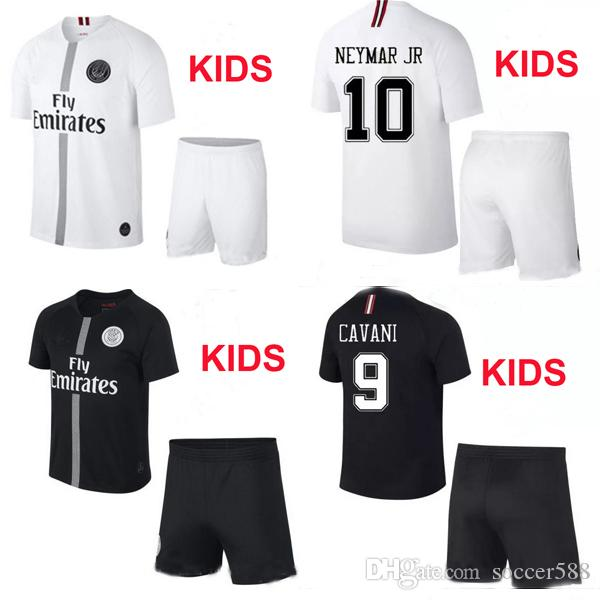 8f6b8beb2ce Kids Kit 18 19 Black White Maillot Psg 3rd Soccer Jerseys 2019 ...