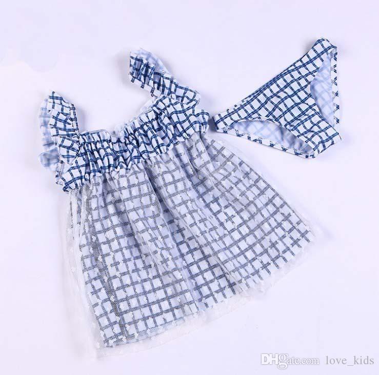 Venta al por mayor nuevo traje de baño de las niñas del bebé traje de baño de la red de encaje de la muchacha niños beah usar ropa de verano niños conjunto traje de baño