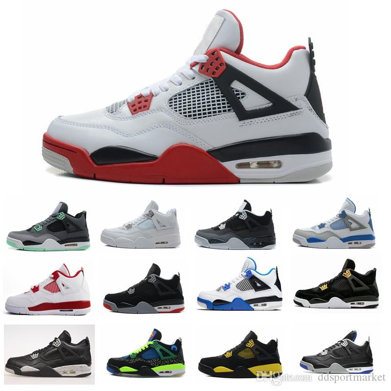 buy online 3fabe 8013b Compre 4 1 6 11 12 13 4 2018 High Quality 4 4s Basketball Shoes Hombre  Authentic IV Boots White Cement Fire Red Bred Bulls Royalty Thunder Hombres  Calzado ...