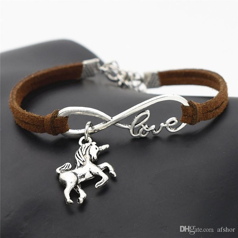 AFSHOR Nueva Vintage Animales Lindos de Plata Antigua Lucky Horse Unicorn Charms Infinito Amor Pulsera Brazaletes de Cuero para Mujeres Regalos