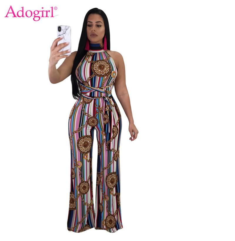 08b9fda61ec4 Wholesale Sexy Maria Chain Print Striped Loose Jumpsuits Halter Sleeveless  Wide Leg Pants Slim Women Rompers Summer Casual Overall Online with   58.06 Piece ...