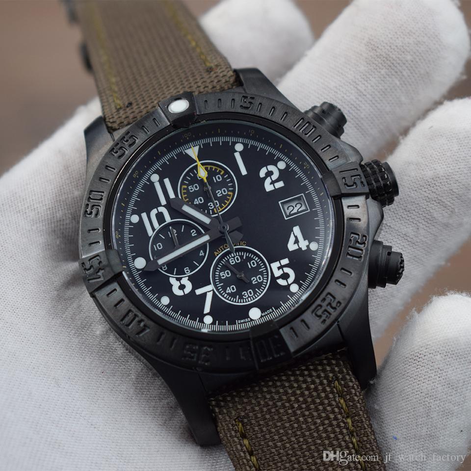 New Super Avenger Männer Sport-Armbanduhr-Schwarz Stahlmantel Armee-Quarz-Band grün Nylon Chronograph