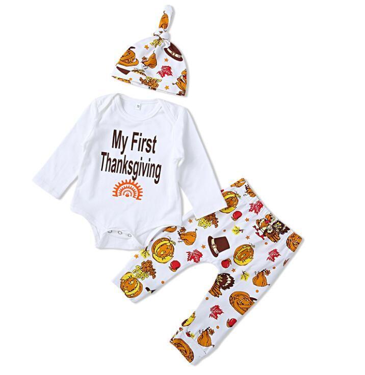 c7863cf79022 Newborn Baby Boys Girls Thanksgiving Clothes Romper Pants Headband ...