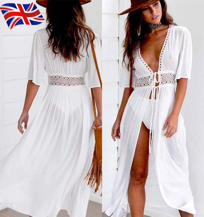 ad0a9ab68911 Acquista Commercio All ingrosso Vendita Calda Donne Deep V Hollow Out  Summer Dress Beachwear Holiday Split Lace Up Dress Kaftan White Boho Long  Maxi Dresses ...