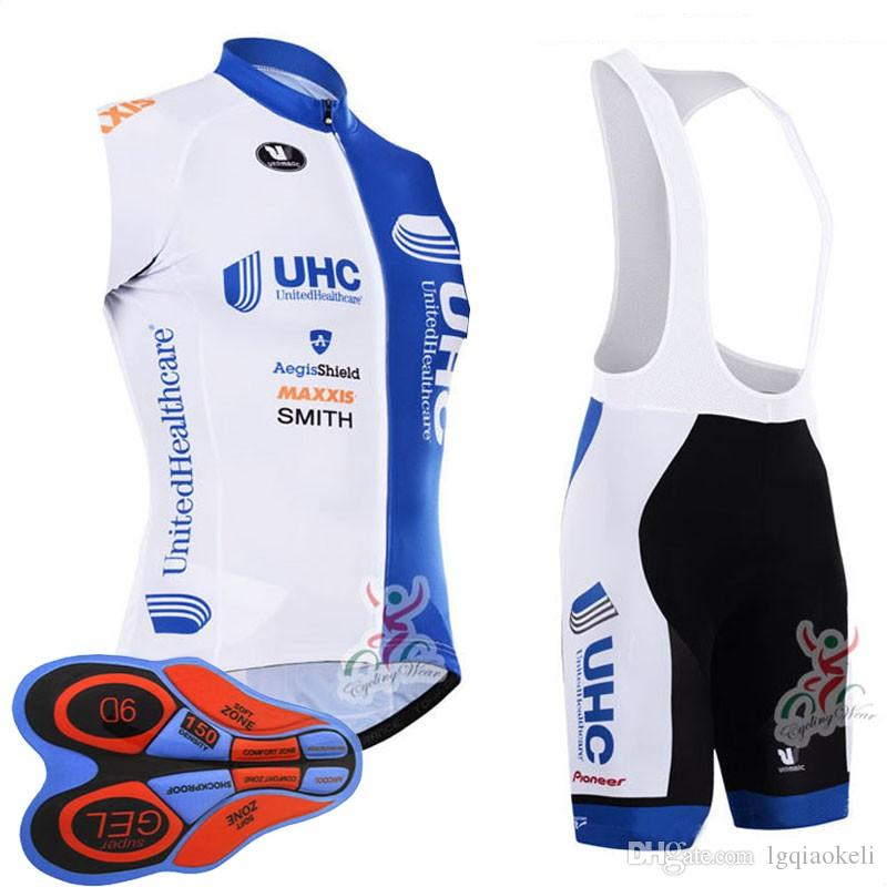 FDJ UHC Cycling Sleeveless jersey 9D gel pad bib shorts sets Mountain Racing Bike Riding Hot Sale Bikes Clothes D1320