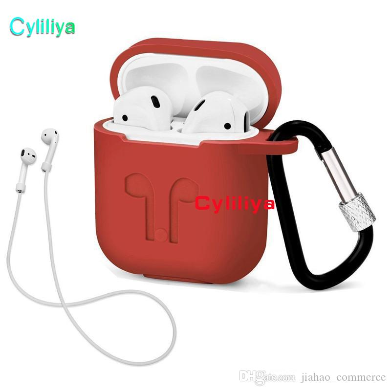 For Apple AirPods Protective Shockproof Silicone Case Pouch With Anti-lost Strap Dust Plug Retail Package For iPhone 7 Bluetooth Earphone