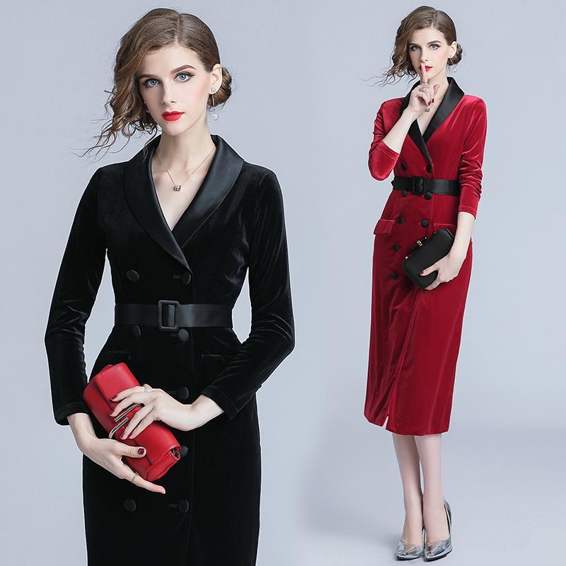 Women's Clothing Elegant Long Flare Sleeve Black White Blazer Dress 2018 Autumn Winter Double Breasted Slim Ruffles Ladies Office Dress Vestidos 100% High Quality Materials