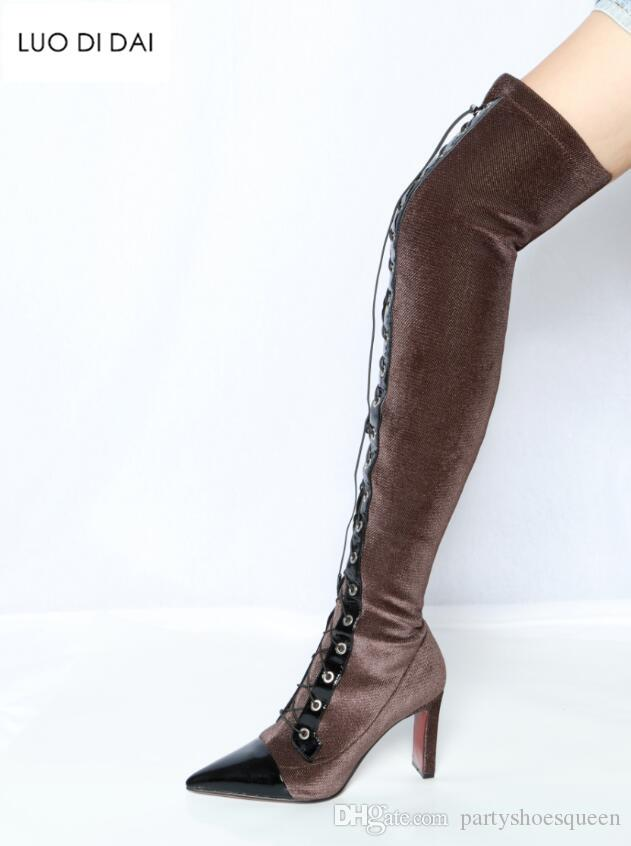 85570de92c28 2018 Autumn New Women Boots Thigh High Booties Lace Up Over Knee High Boots  Ladies Party Shoes Soft Velvet Long Booties Women Combat Boots For Women  Sexy ...