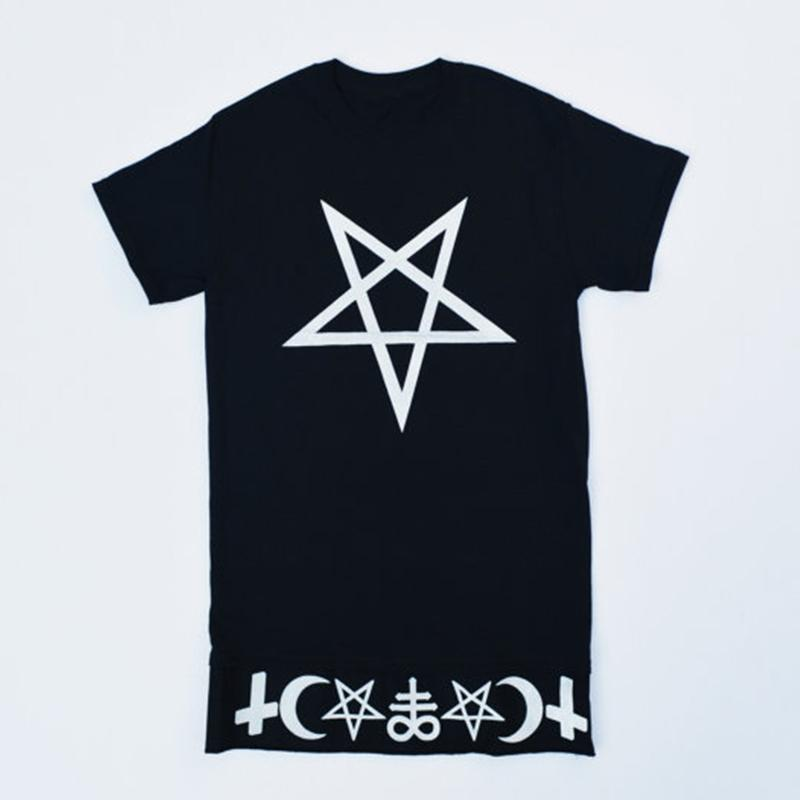 Women T Shirt Crescent Moon Symbol Pentagram Unisex Tops Shirt
