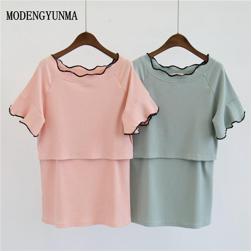 c7c1950299c 2019 MODENGYUNMA Summer Maternity Nursing Tops Cotton Maternity Breastfeeding  Tops Pregnancy Lactation T Shirt Breastfeeding Clothes From Ferdimand, ...