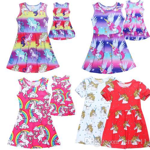 53c4ba1759fd Acquista Unicorno Gonna Media Lunghezza Ragazze Arcobaleno In Cotone Casual  Princess Dress Unicorno Cartoon Camicia Da Notte Vestito i Bambini 4 10 T  LC727 ...
