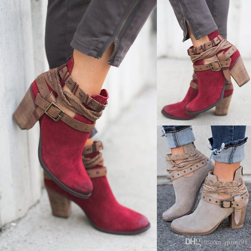 9fc44b9c3368 Autumn Winter Women Ankle Boots New Fashion Belt Buckles Short Boots For  Girls Casual Shoes Red Grey Woman Ladies Boots High Heels Shoes Rivet  Buckle Daily ...