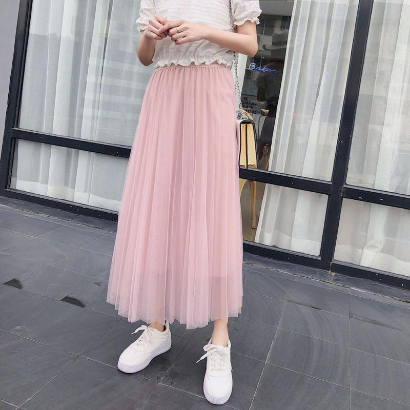 ffc44cfa2e34d5 Women's Flowy Pleated Tulle Skirts Ankle Length Midi Skirt A Line Elastic  Waist Party Mesh Skirts