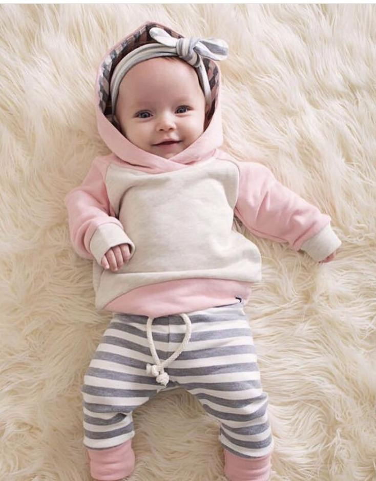 7f08637bc9b11 Cute Toddler Baby Boys Girls Autumn Clothes Sets Long Sleeve Hooded  Sweatshirt Tops+Long Pants 3pcs Newborn Clothing Outfits Y18100904