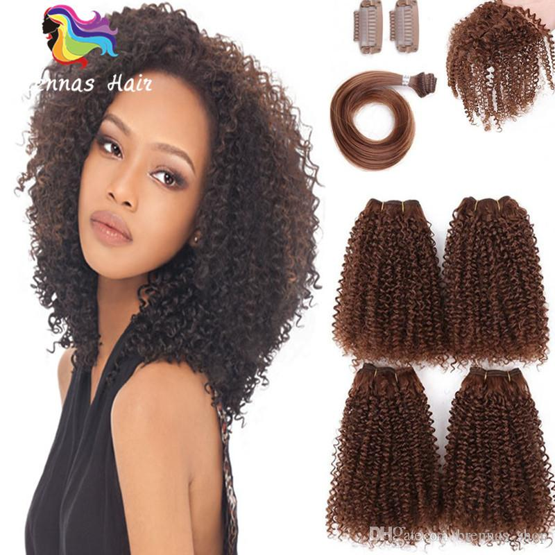 SYNTHETIC HAIR WEAVE AFRO KINKY CURLY PERUVIAN BUNDLE HAIR FOR BLACK WOMEN 4BUNDLES WITH CLOSURE FOR FULL HEAD CLIP HAIR EXTENSIONS UK USA