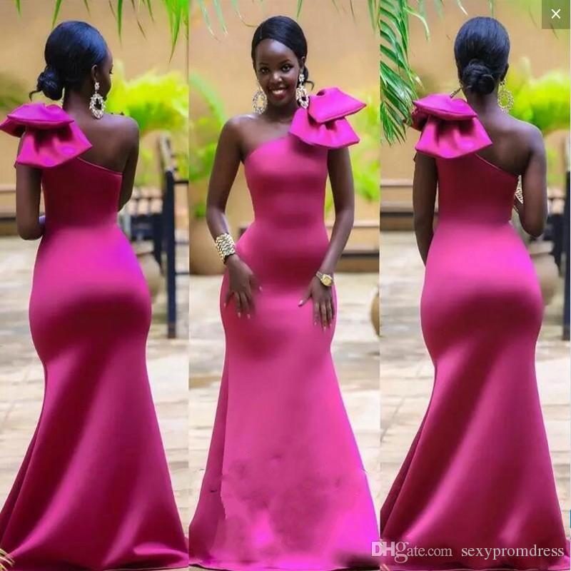 24243fd10080 Bright Fuchsia Mermaid Prom Dresses With Big Bow On One Shoulder South  African Satin Evening Gowns Floor Length Formal Party Dress Silver Prom  Dresses ...