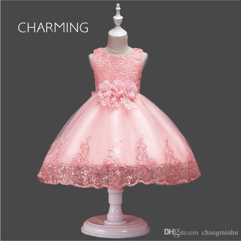 0a8d63021bc38 Satın Al Prenses Balo Çiçek Kız Elbise Kısa Yaz Aplike Tül Çocuklar Parti  Düğün Örgün Önlükler, $34.94 | DHgate.Com'da