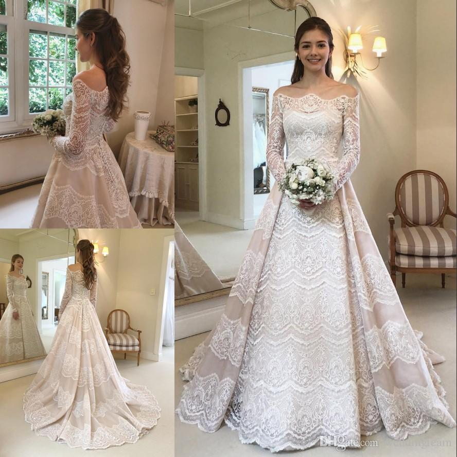 526f98c9cbbbe Graceful Lace Wedding Dresses Off The Shoulder Long Sleeves Bridal Gowns  Sweep Train Buttons Back Organza Vestido De Novia