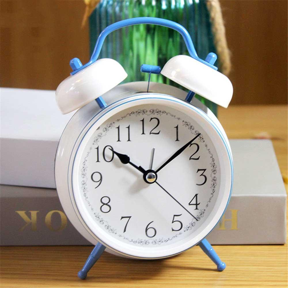 Simple White Metal Alarm Clock Bedroom Mute Needle Table Clock with Night  Light Function Student Gets up Bell