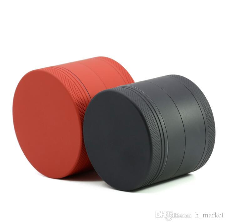 4 layer 63mm Aluminum Alloy Herb Grinder Of External Advanced Abrasion Proof Springiness Rubber Paint with Tobacco Spice Crusher Grinder
