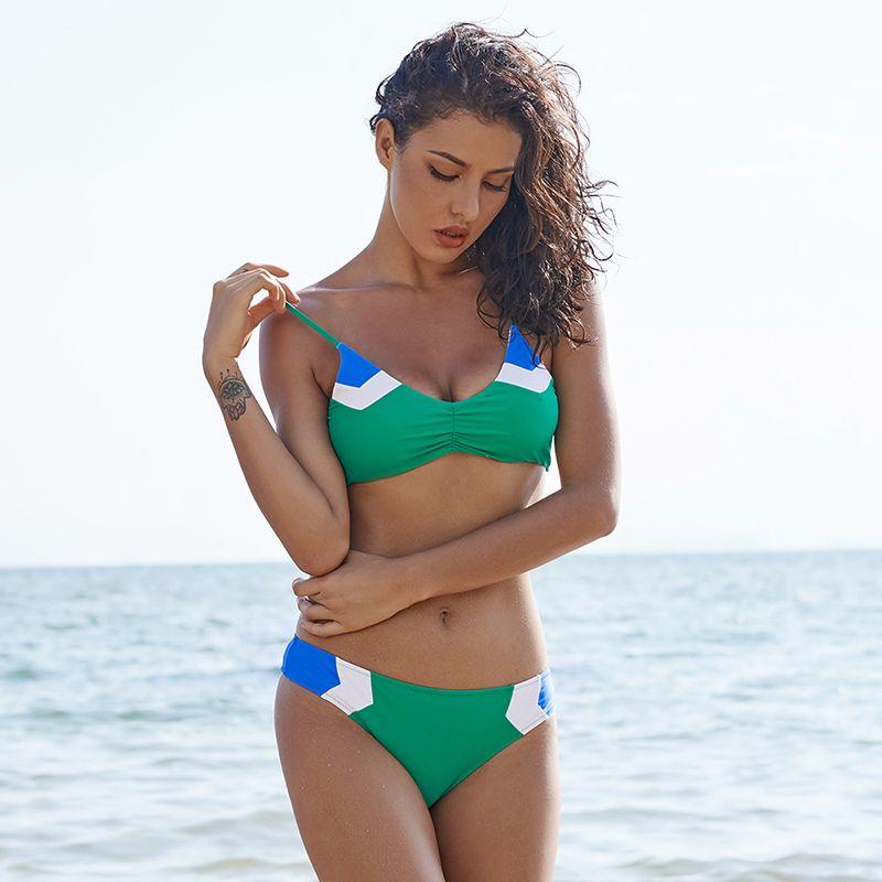 Ariel Sarah 2018 Frauen Badeanzug Patchwork Bikini Sexy Badeanzug Einfache Bademode Brasilianische Bikini Maillot De Bain Beachwear