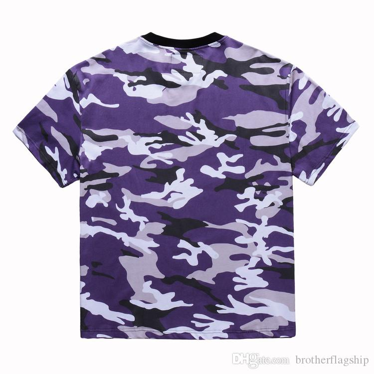 2018 camouflage camo oversized men t shirt hiphop justin bieber Pink purple Short-sleeved cotton Latest TOP KANYE WEST TEE Swag
