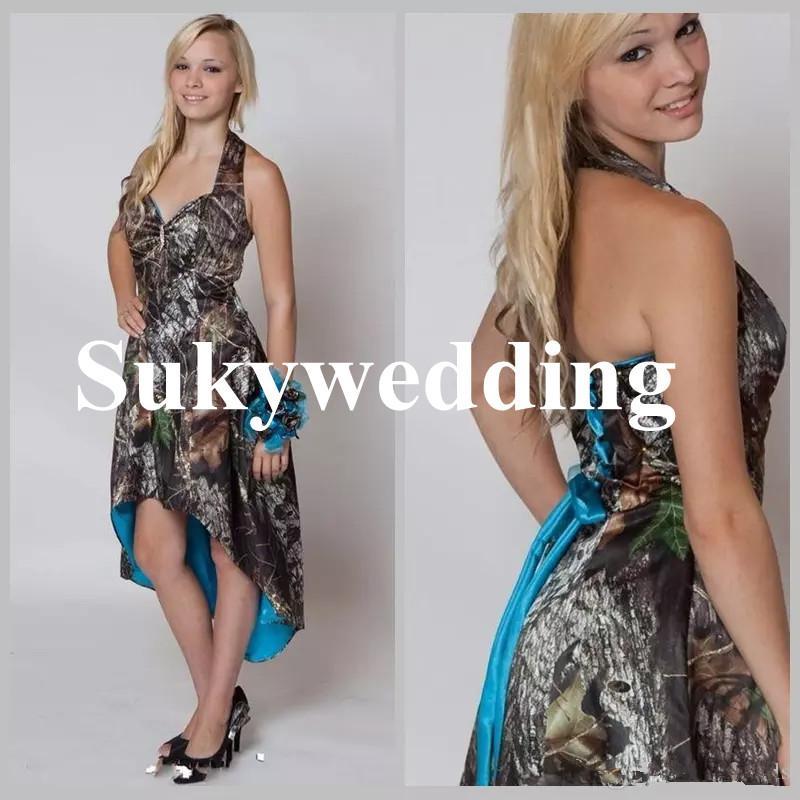 Azul Camo Vestidos de Dama de honra Oi Low Vestido de Festa de Casamento Curto Frente Longo Voltar Camuflagem Maid of Honor Vestido Halter País Vestidos de Casamento
