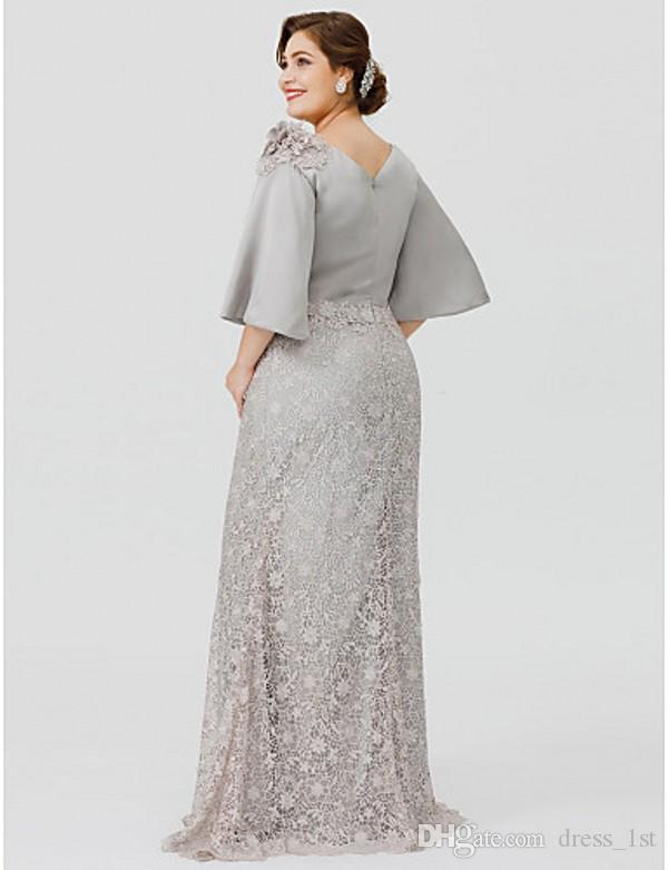 Elegant Plus Size Mother Bride Dresses 2020 Latest Bateau Neck Mermaid Half Length Bell Sleeve Silver Formal Dresses for Mother of the Bride