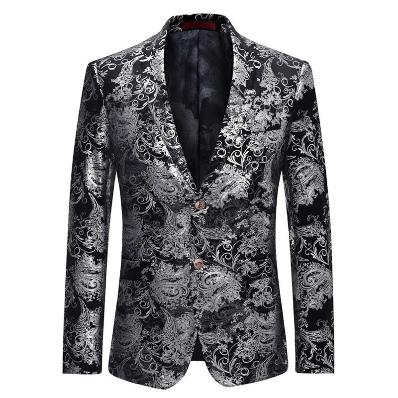 ae23fa78646 2019 YFFUSHI 2018 Fashion Men Suit Jacket Spring Two Buttons Jacquard  Sliver Blazer Casual Style Slim Fit Plus Size 6XL From Beautyjewly