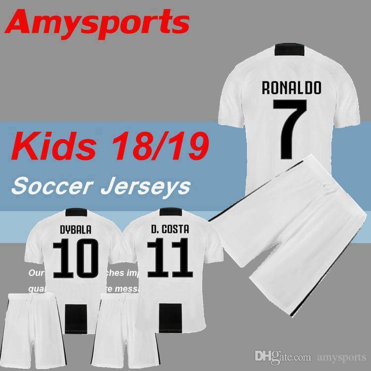 26f06ea21 Kids Kit 2018 RONALDO Dybala Soccer Jersey MAGLIA Calcio HIGUAIN ...