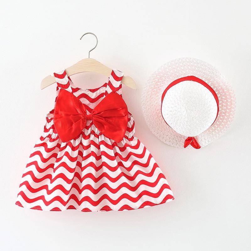 f12685fdc5fbe BNWIGE 2018 New Summer Clothes Sets wave Striped Big Bow Sleeveless Baby  Princess Dress Plus Hat Kids Girl Dress Set