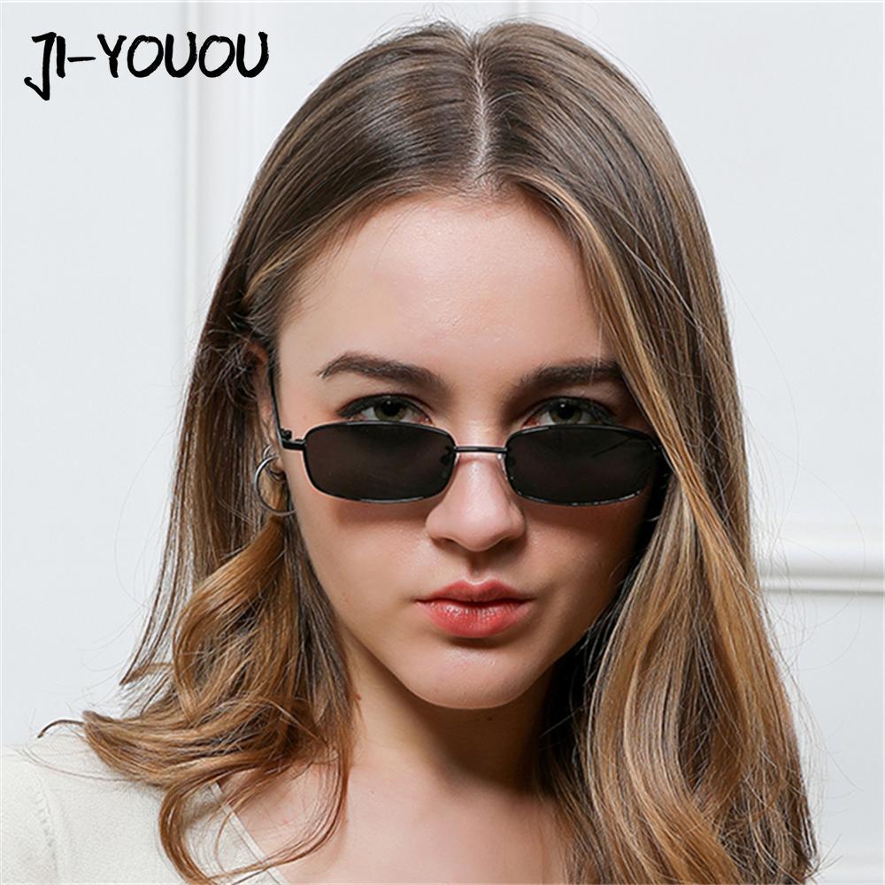 fd255596687a1 Compre Óculos De Sol Para As Mulheres 2018 New HD Marca Cateye Óculos Oculos  Moda Retangular Armação De Metal Máscaras UV400 Senhoras Óculos De Sol De  ...