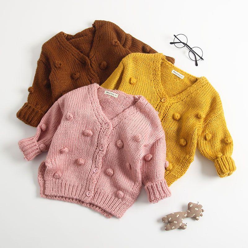 5c751e9d8f22 Baby Girls Knitting Cardigan Sweater Autumn Children Pompom V Neck ...
