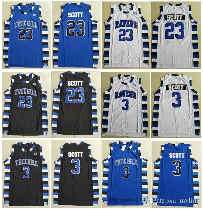 fd22404e6f2 Film Version Stitched Jerseys Men's One Tree Hill Ravens Basketball Brother Movie  3 Lucas Scott 23 Nathan Scott Black White Blue