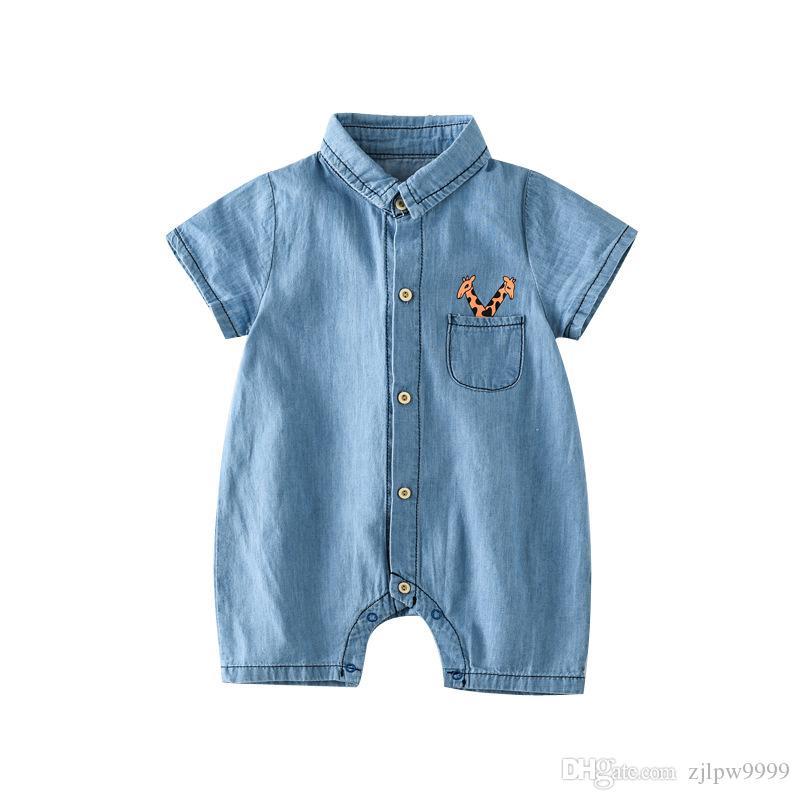 48258528d1fd Baby Toddler Short Sleeve Lapel Collar Denim Jeans Giraffe Cat Bear ...