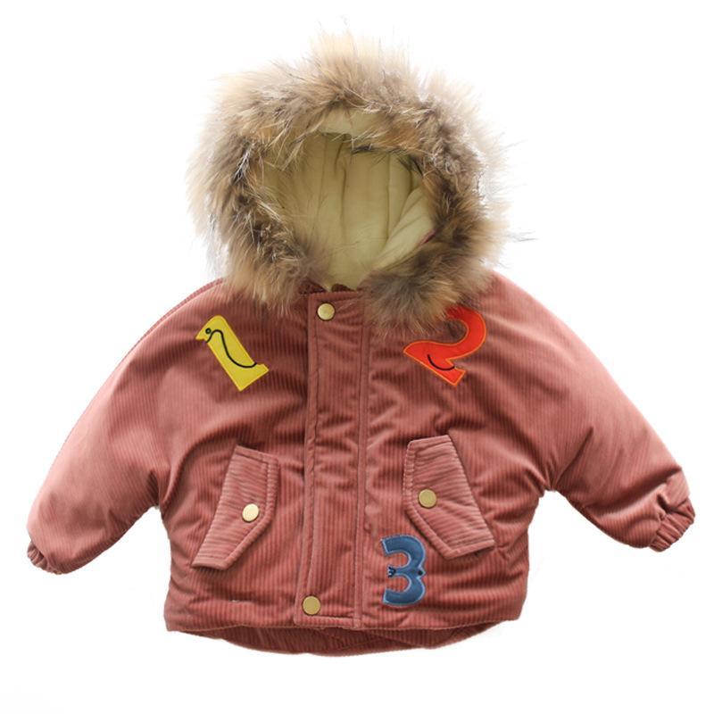 low priced dfb80 80d38 Mädchen Winterjacke Mädchen Plus Dicke Samt Parkas Mantel Kinder Mädchen  Brief Jacke Mode Hoodes Kragen Oberbekleidung Baby Mädchen Mantel