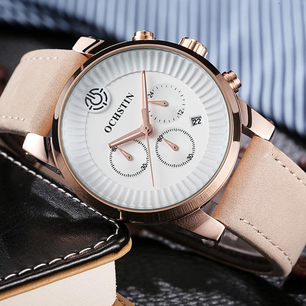 bdef92669d1a Compre OCHSTIN GQ067C Luminous Mens Watches Reloj Analógico De Cuarzo  Hombres Reloj De Cuero Genuino Reloj Impermeable Hombre Casual Reloj De  Pulsera + Caja ...
